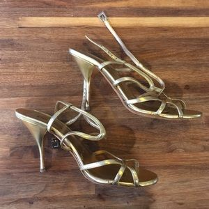 Prada gold strapy heels